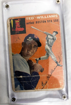 Ted Williams baseball card with BB through William's head